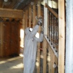 Scrubbing of wall studs after biocide application