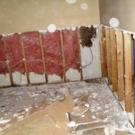 Removal of mold affected wallboard in residence